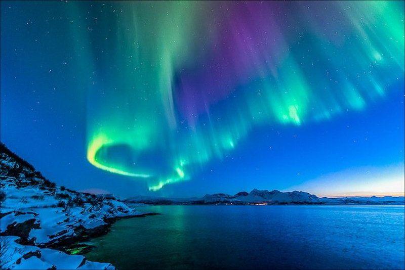 В Норвегию едет все больше туристов для того, чтобы увидеть северное сияние